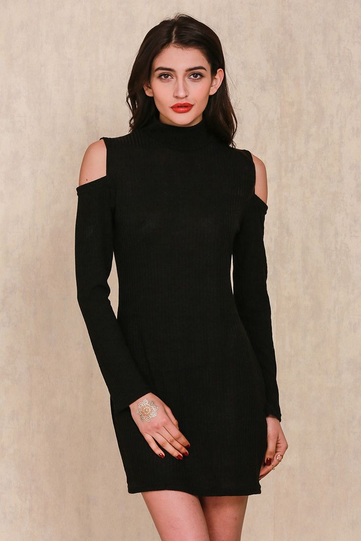 Off Shoulder Knitted Dress Evening Party Bodycon Dress