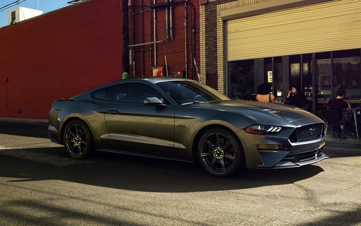 Ford Mustang GT, american cars, 2018 cars, sportcars, gray Mustang, supercars, Ford