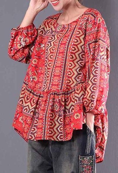 5ed908b722c ZANZEA 2018 Spring Retro Ethnic Print Cotton Linen Irregular Shirt Casual O  Neck Lantern Sleeve Loose Pleated Party Blouse S 5XL