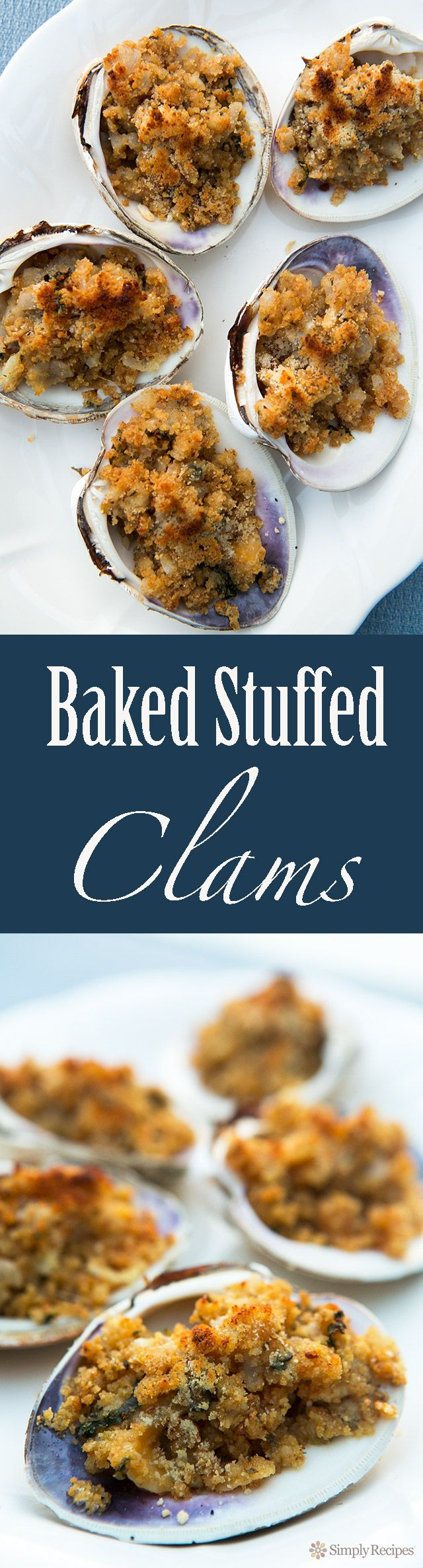 Baked Stuffed Clams ~ Minced clams mixed with butter, onions, parsley, and bread crumbs, spooned into half clam shells and baked. Quahog Stuffies recipe. Perfect for a summer holiday beach cookout! ~ SimplyRecipes.com