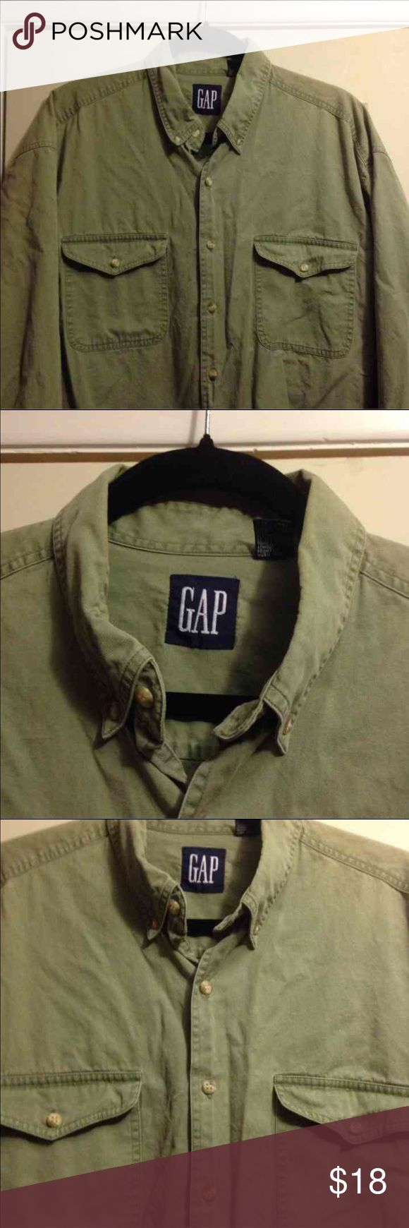 Gap Mens shirt Gap two pocket button down shirt. Missing button on right sleeve. See last picture for detail. Pricing reflects this. Size XL Gap Shirts Casual Button Down Shirts