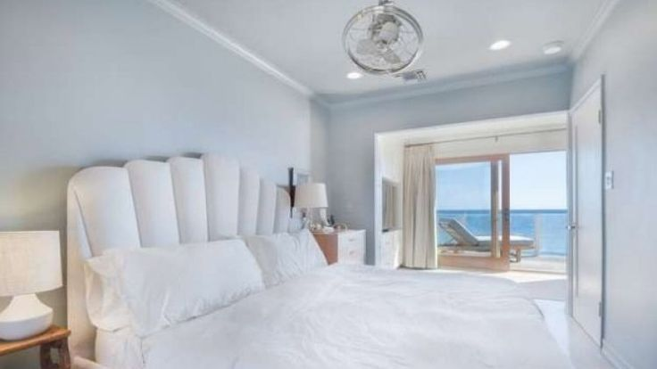 The master bedroom at DiCaprio's Malibu home.