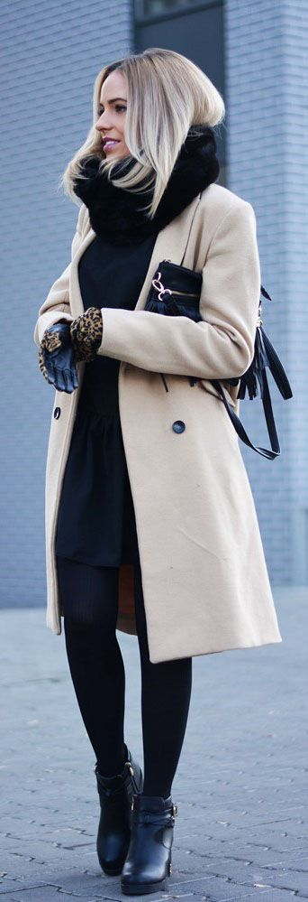 Black dress and tights with infinity scarf, camel coat and ankle boots