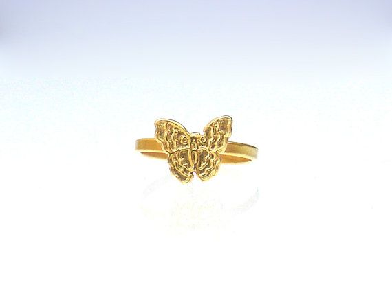 Butterfly Ring  Cute Gold Butterfly Ring  Thin by profoundgarden