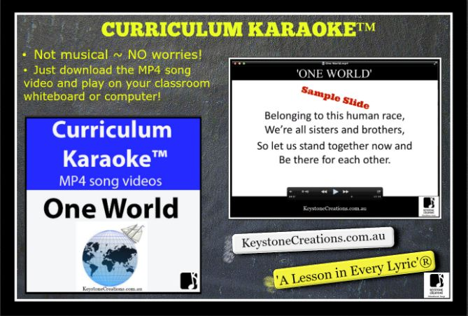 This whole school, curriculum-aligned song discusses cultural similarities and differences (food, clothing, shelter, customs, language, leisure and music…), helping students understand, celebrate, and embrace diversity. There's A Lesson in Every Lyric® CURRICULUM KARAOKE™  •	Not musical ~ NO worries!  •	Just download the MP4 song video and play on your classroom whiteboard or computer!  •	Students read / sing / learn along as the song plays and the lyrics display on the screen. **DETAILS…