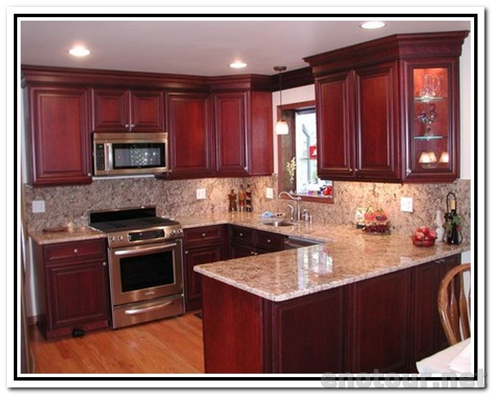 Cabinets colors kitchen paint colors with cherry for Cherry kitchen cabinets wall color
