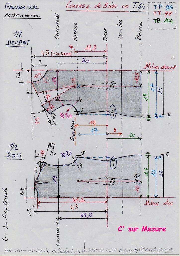 d'apres tableau de mesures csm standard, T44 = TP96, TT78, TB104.pour le corsage de base !