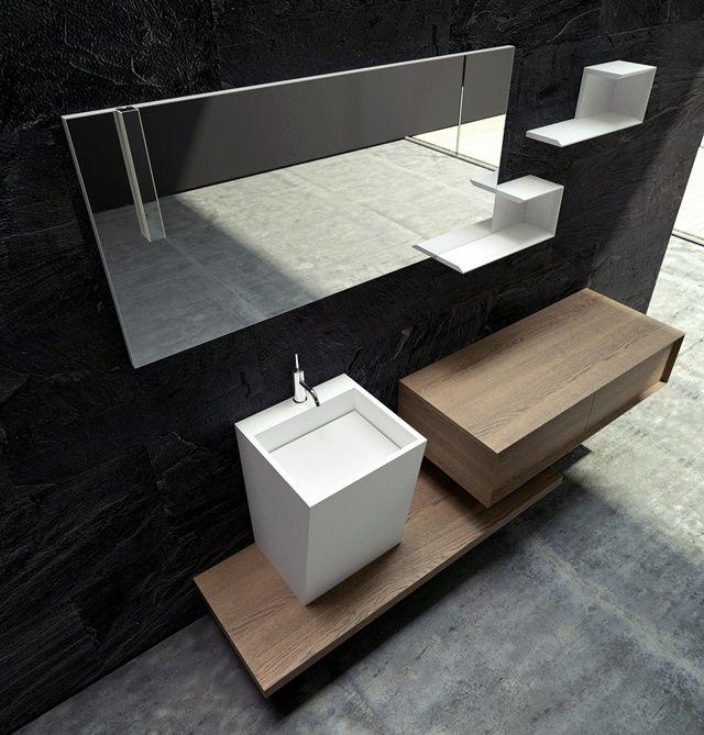 Altra anticipazione del Modula 2.0, composizione con finitura in legno impiallacciato. #design #bagno #arredamento #arredobagno