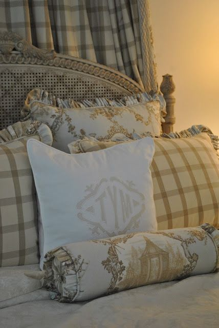 This will be an inspiration for the bedroom pillows. Love the large check, the pagoda fabric and the monogrammed pillow too.