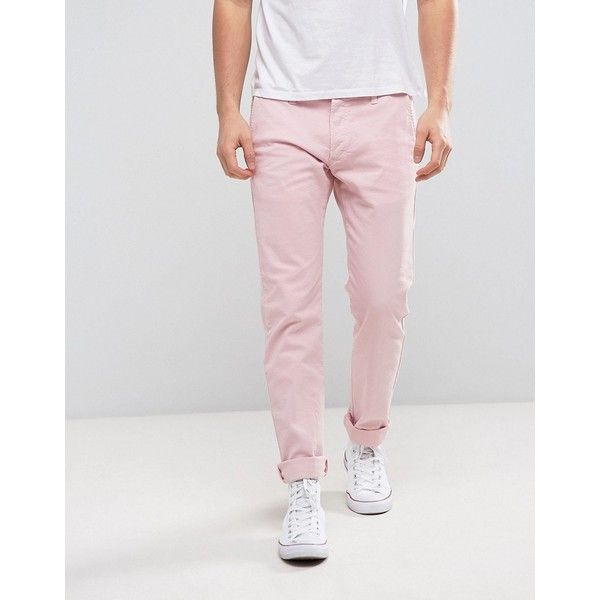 Edwin 55 Chino Pink ($150) ❤ liked on Polyvore featuring men's fashion, men's clothing, men's pants, men's casual pants, pink, mens slim fit chino pants, mens tall pants, mens pink pants, mens slim fit pants and mens slim pants