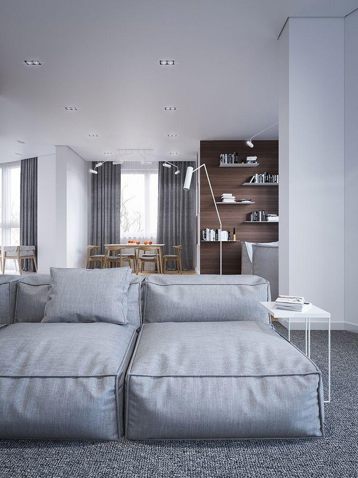 Soggiorni moderni immagini, divano morbido grigio, tende