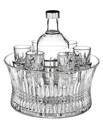 Waterford crystal shot glasses and a vodka carafe certainly raise the bar