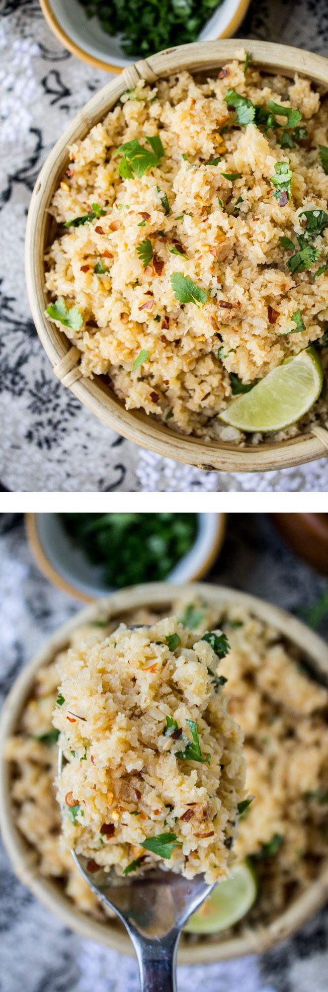"Asian Cauliflower ""Rice"" from The Food Charlatan // This is a great sub for rice if you are on a low-carb diet! Pair with curry, stir fry, pork, beef, chicken, etc."