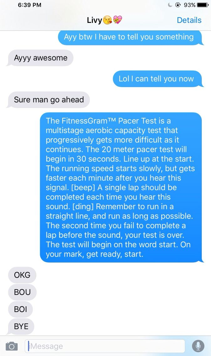 The FitnessGram™ Pacer Test is a multistage aerobic capacity test that progressively gets more difficult as it continues. The 20 meter pacer test will begin in 30 seconds. Line up at the start. The running speed starts slowly, but gets faster each minute after you hear this signal. [beep] A single lap should be completed each time you hear this sound. [ding] Remember to run in a straight line, and run as long as possible. The second time you fail to complete a lap before the sound, your test…