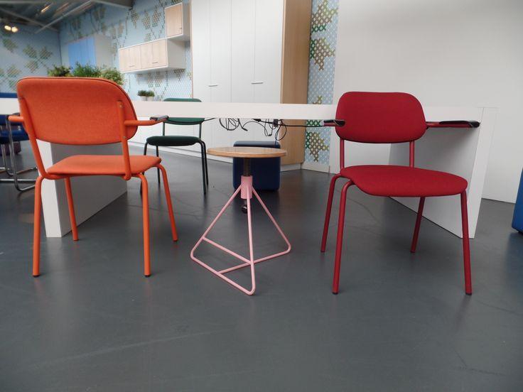 Jami stoel 4-poot en de spinner kruk, Jami chair 4 legs and the Spinner, pink, bright colours  Jami 2017, Spinner 2017 • Designer: Toine van den Heuvel  • © Lande • Photo: Martijn Verhoeven