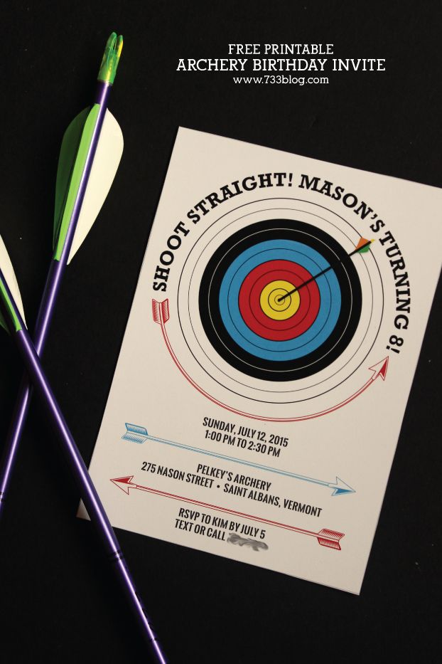 Free Printable Archery Themed Birthday Party Invitation