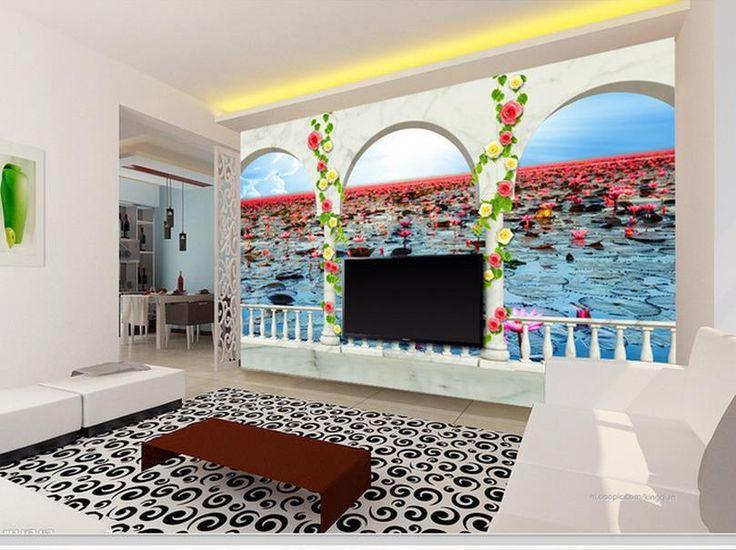 Дешевое Бесплатная доставка современные стены 3D фрески обои, HD балкон лотоса озеро 3D росписи для тв диван фоне стены papel де parede, Купить Качество Обои непосредственно из китайских фирмах-поставщиках:                                                     Примечание: