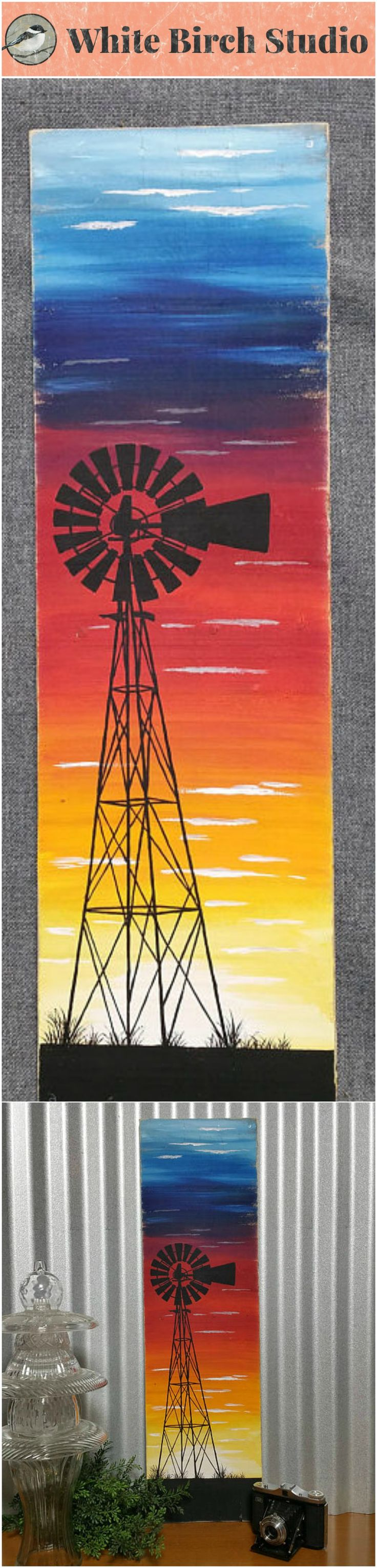 Windmill sunset painting, pallet wall art, sunset art, Silhouette windmill art, reclaimed wood decor, handmade art, distressed   Have you been looking for that one unique piece of artwork that just catches your eye?  Original Acrylic painting on a single large piece of reclaimed pallet. The edges are lightly sanded for an aged appearance.  This unique piece is 30 in tall x 9 in wide.