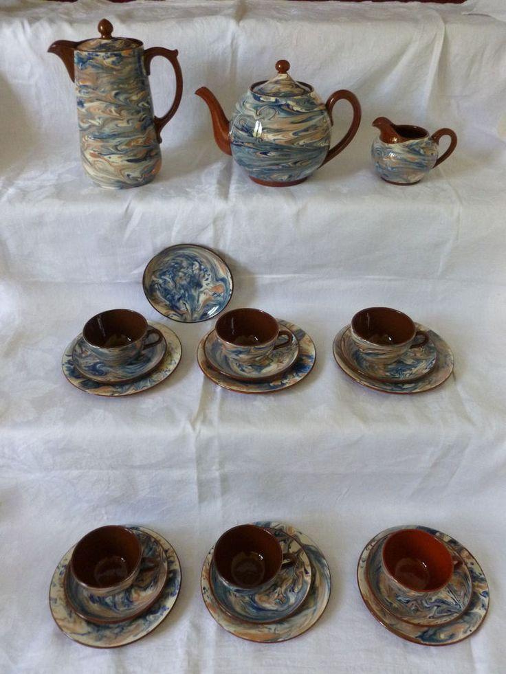 Sarreguemines Service marbre Porcelaine 22 Teile 1920-30 marmoriert Kaffee Tee    eBay