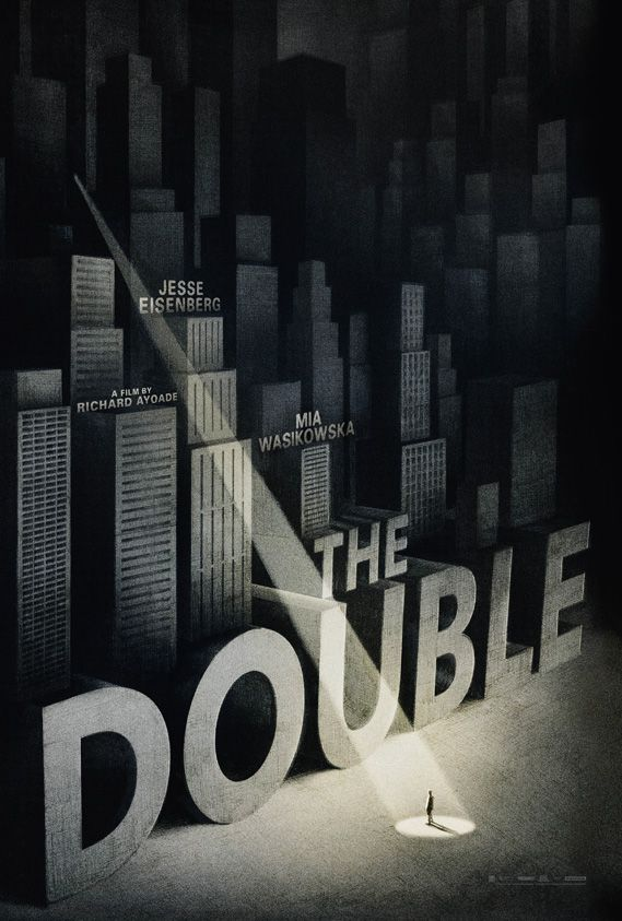 Empire Design's illustrated poster for Richard Aoyade film The Double, inspired by one promoting Hitchcock thriller The 39 Steps