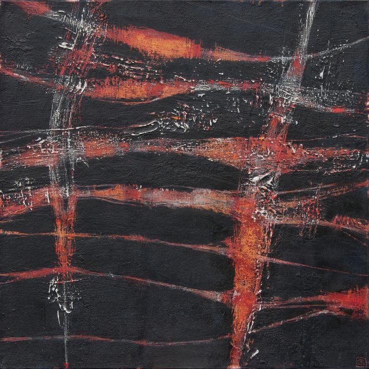 Hilos de fuego 1 de 2 oleo sobre tela 75 x 75 cm 2010