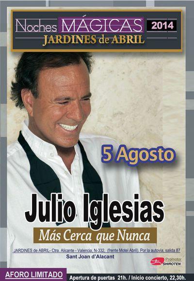 Entradas para Julio Iglesias en San Juan de Alicante el 5 de agosto 2014 en notikumi