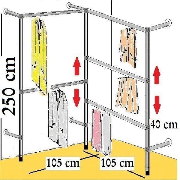 Begehbarer Kleiderschrank Kleiderstange ~ BEGEHBARER KLEIDERSCHRANK,250 cm HOCH KLEIDERSTÄNDER KLEIDERSTANGE