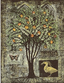 "The Pomegranate Tree by Kirsi Neuvonen, 1996. Line etching, aquatint, copy etching. 65 x 50 cm (25 5/8 x 19 5/8"")"