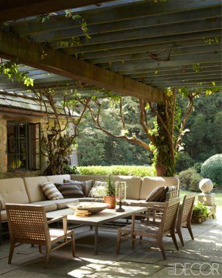 great for entertaining outdoors: Outdoor Seats, Elle Decor, Dreams, Outdoor Living Room, Gardens, Outdoor Room, Patios, Outdoor Spaces, Backyards
