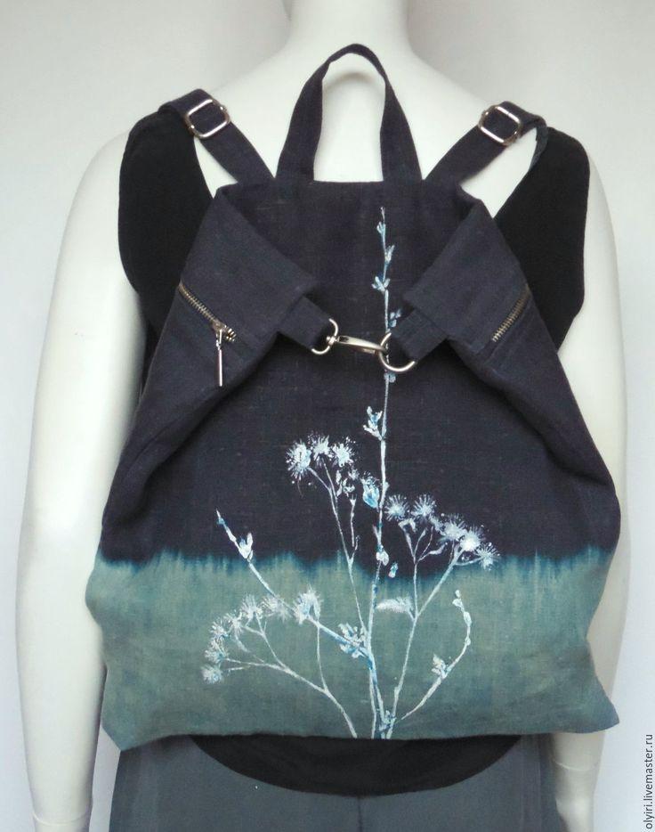 Купить Рюкзак льняной Белые травы луговые - синий, рюкзак, рюкзачок, рюкзак женский