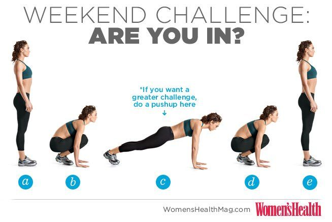 #WHWeekendChallenge Burpees! Do 3 sets of 8 before every meal on Saturday
