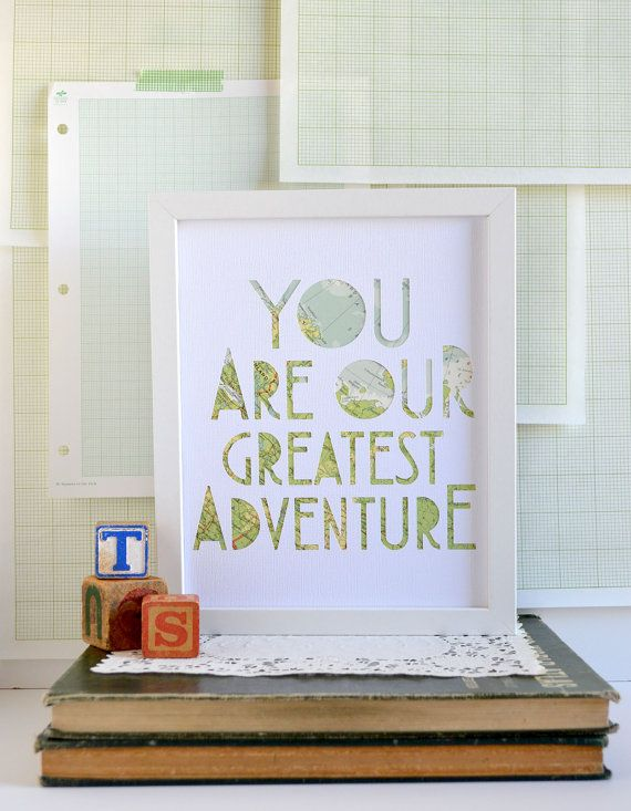 Travel Theme Nursery Art - Custom Nursery Art - Playful Vintage Map Art - Heirloom Wall Art - You Are Our Greatest Adventure in White