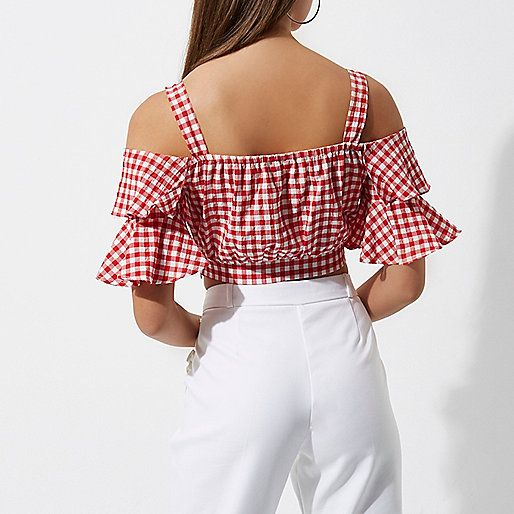 Woven fabric Gingham print Frill sleeve Cami shoulder straps Cropped length Our model wears a UK 8 and is 175cm/5'9'' tall