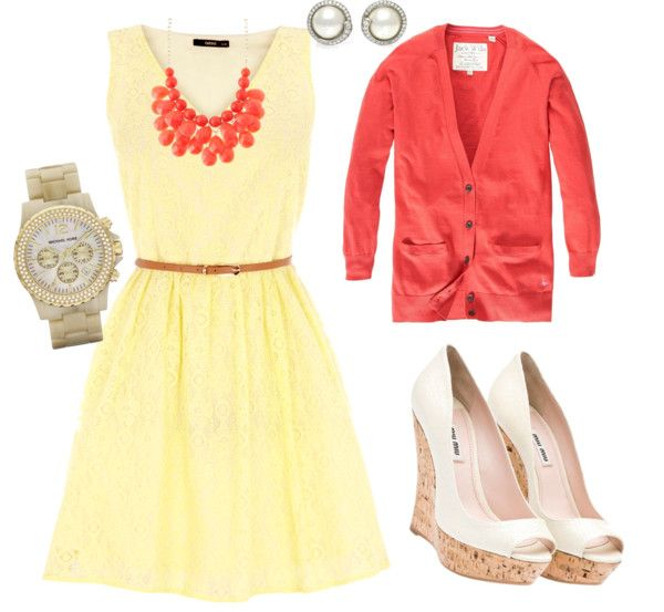 Pretty lemon and coral pallette, very summery with the white wedges...love the necklace too- created by meganmaguire on Polyvore