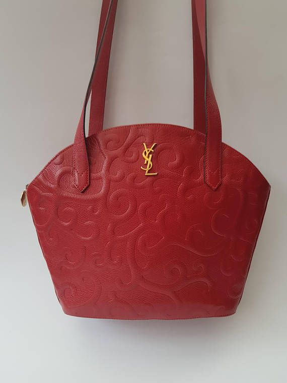 d8724f132c90 YSL Yves Saint Laurent Vintage Red Leather with Arabesque Pattern ...
