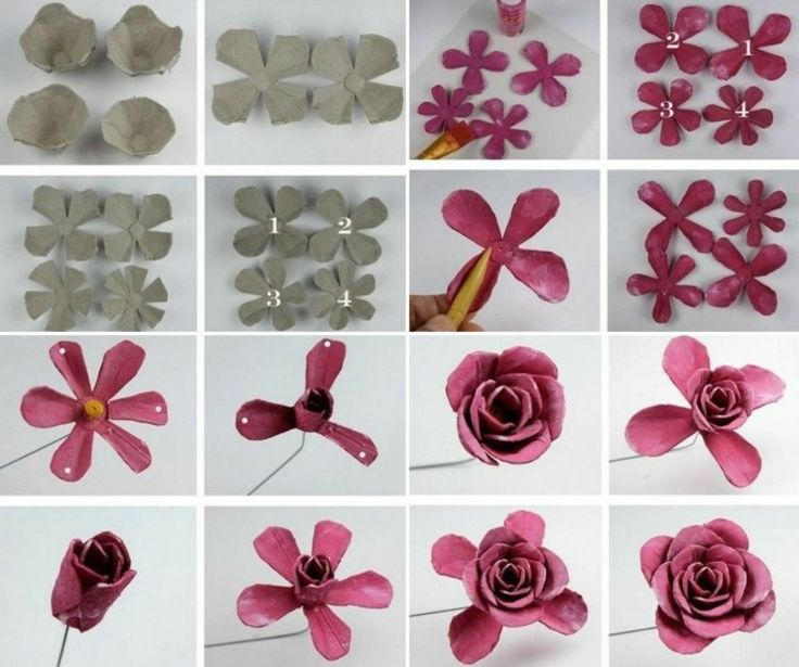 Basteln mit Eierkarton - Anleitung für Rosen