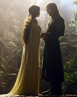 """Aragorn: """"You said you'd bind yourself to me, forsaking the immortal life of your people.""""  Arwen: """"And to that I hold. I would rather spend one lifetime with you, than face all the ages of this world alone."""""""