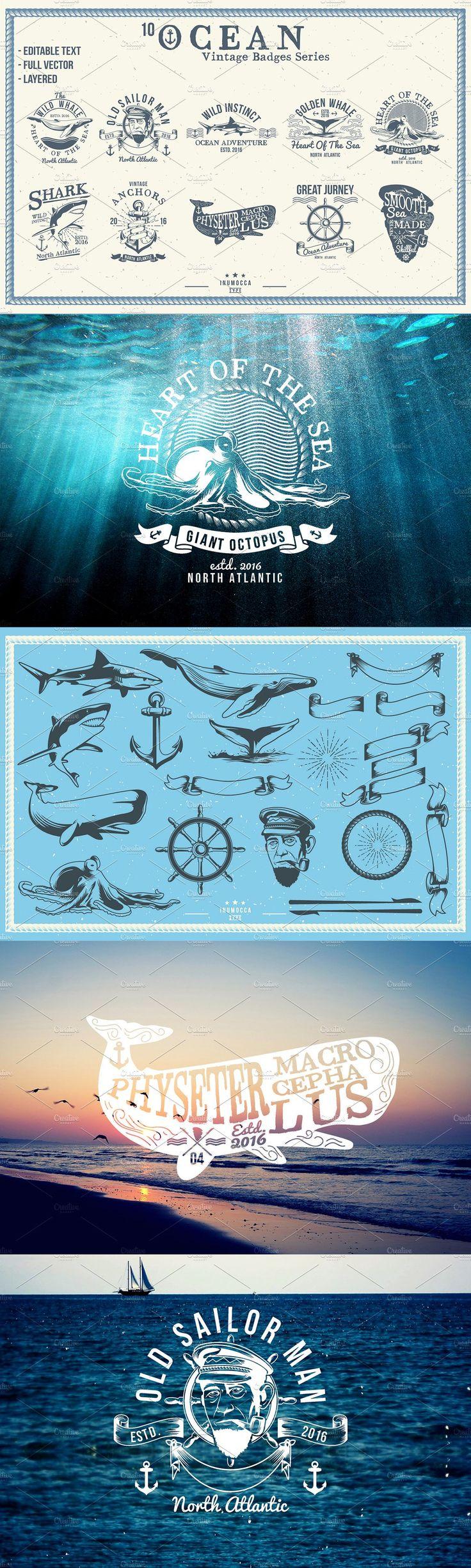 10 Ocean Vintage (editable text) Templates EPS, AI