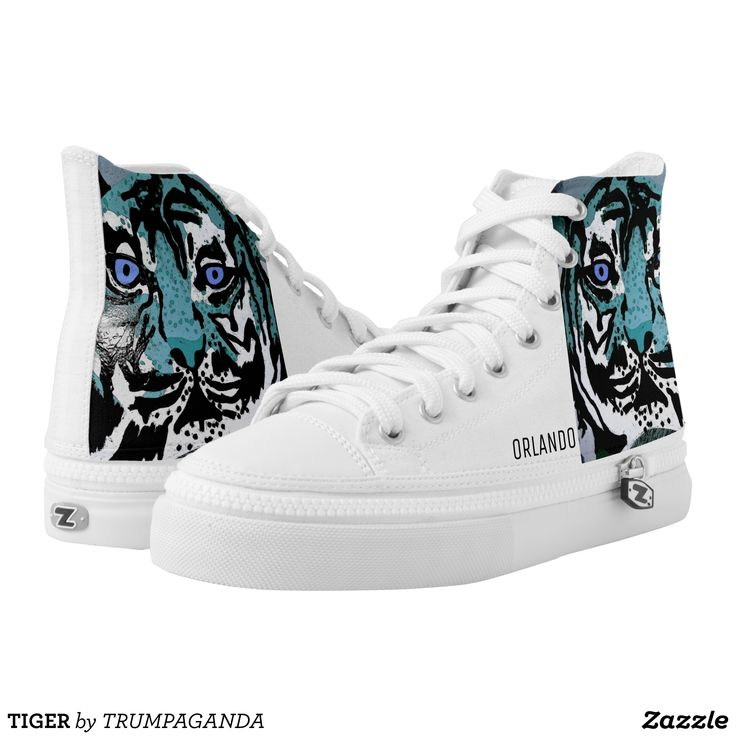TIGER High-Top SNEAKERS - Printed Unisex Canvas Slip-On #Shoes Creative Casual #Footwear #Fashion #Designs From Talented Artists - #sneakers #feet #fashion #design #fashiondesign #designer #fashiondesigner #style - Look sporty stylish and elegant in a pair of unique custom sneakers - Each pair of custom Low Top ZIPZ Shoes is designed so you can fit your style to any wardrobe mood party or occasion - Fashionable sneakers for kids and adults give you a unique and personalized way to express…
