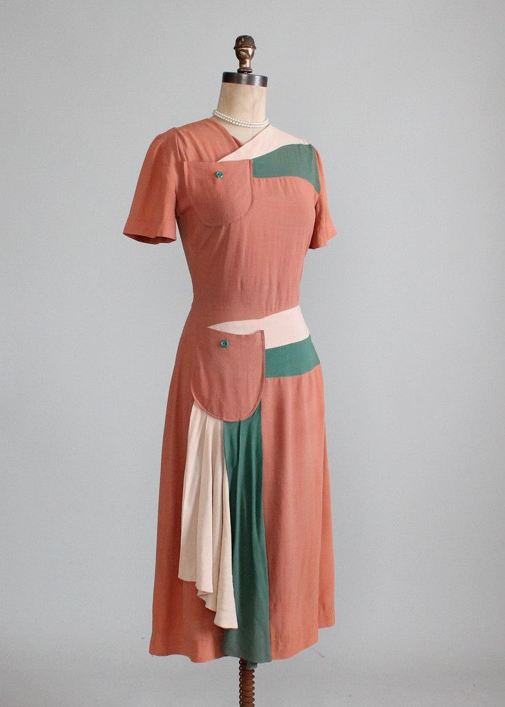 Vintage 1940s Color Block Swag Dress color photo print ad day dress green tan brown coral white cream