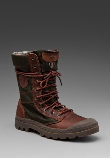 PALLADIUM Ballistic Nylon/Leather Combo Pampa Tactical in Bridle Brown/Olive Drab at Revolve Clothing