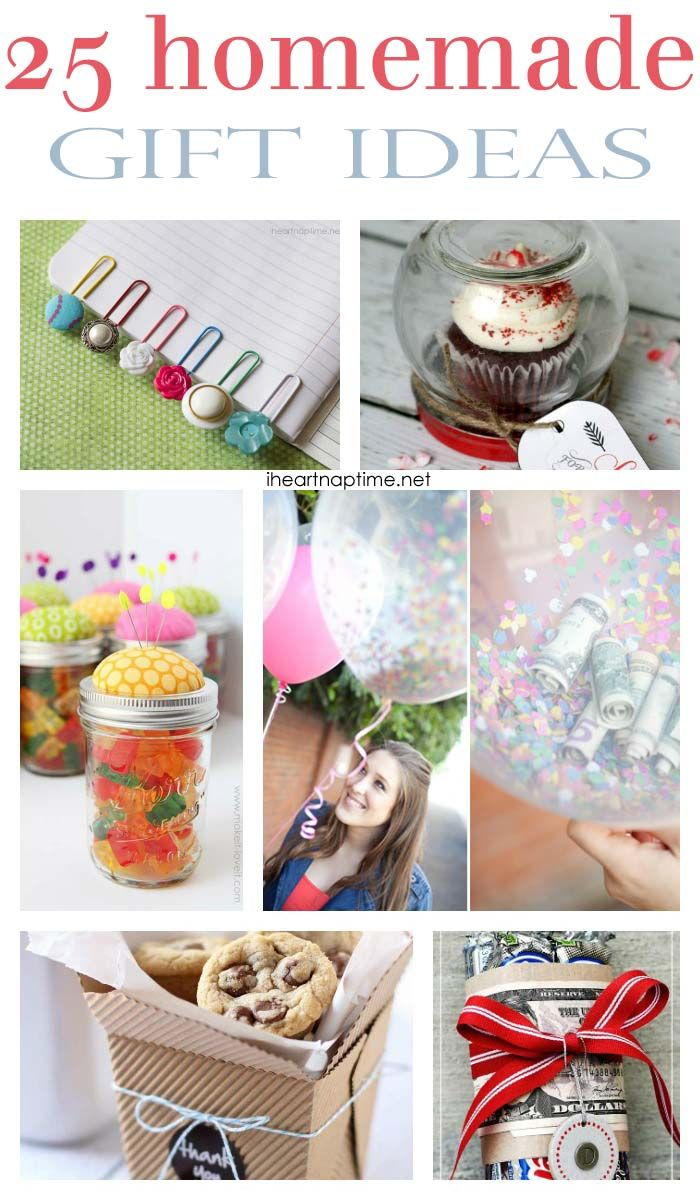 25 homemade gift ideas...some different ones here, must see the balloon idea, I love it!