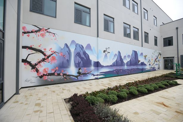 First glimpse of Hafan y Coed, a new mental health facility at University Hospital Llandough. A mural in a communal garden