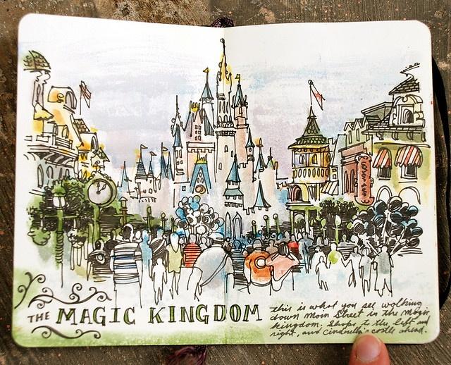 Beautiful sketch of the Magic Kingdom.