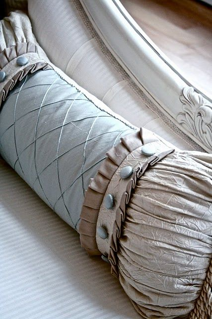 Ruffles, gathers and buttons...Oh! My... custom pillows are fabulous
