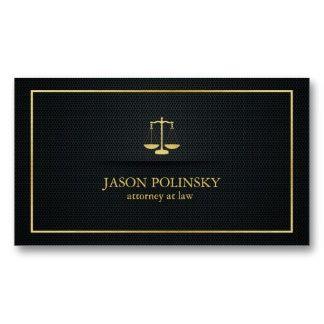 Abogado elegante del negro y del oro en la ley plantilla de tarjeta de visita