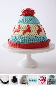 Knitted Winter Hat Cake - adorable Christmas dessert you can make at home   Cakegirls for TheCakeBlog.com