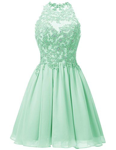 Dresstells® Short Chiffon Halter Neck Prom Dress With…