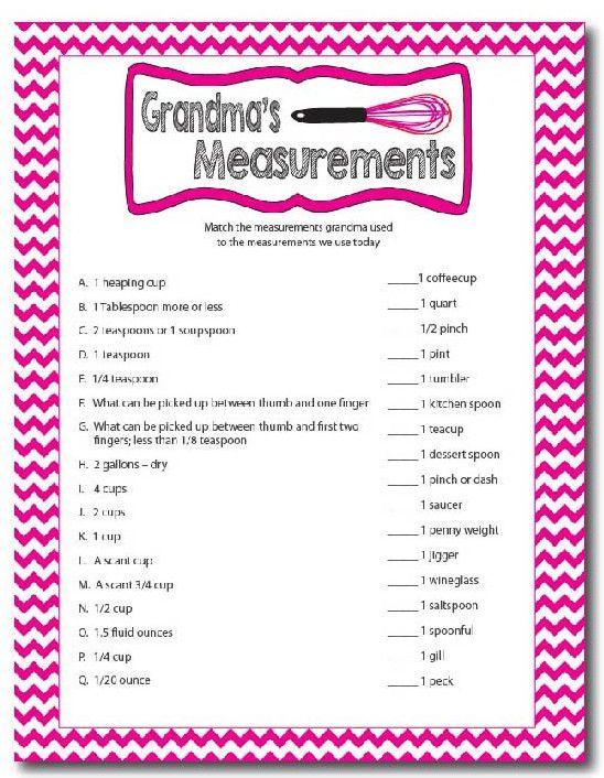 Grandmas Measurements Printable Family Reunion Game Games