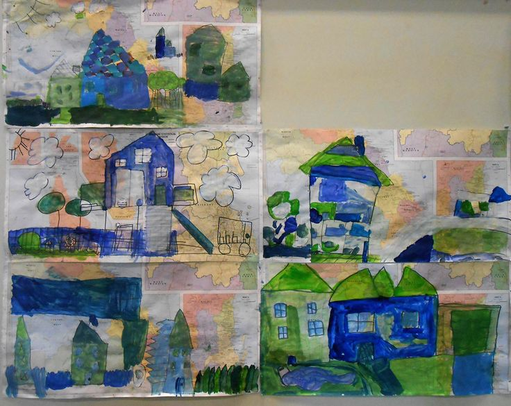 My House My Place - colour and line investigation. Painting on old map paper. Year 2
